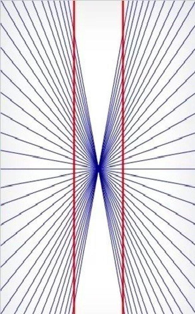 13. İki kırmızı çizgi son derece paralel ve düz.