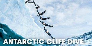 İklim Değişikliğine Farkındalık İçin 20 Metre Yükseklikteki Buzuldan Suya Atlayan Sporcu