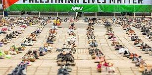 AB Konseyi Önünde Filistin'e Destek Eylemi: 10 Yılda Ölen Filistinliler için 4 Bin 500 Çift Ayakkabı