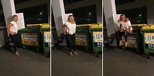 Çöp Konteynerine Çişini Yapmaya Çalışan Kadının Tepetaklak Olduğu Efsane An
