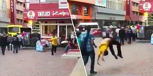 Sokak Ortasında Bruce Lee Gibi Takla Atarken Yoldan Geçen Vatandaşı Perişan Eden Genç