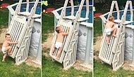 Havuza Girebilmek İçin Kilitli Merdiveni Azimle Tırmanan 2 Yaşındaki Bebeğin Takdire Şayan Çabası