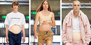 Londra Moda Haftası'nda Erkek Modellerin Hamile Karınlarıyla Podyuma Çıktığı Tuhaf Defile
