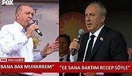 Erdoğan ile Muharrem İnce'nin Seçim Meydanlarından Mizaha Konu Olan Atışması: 'Bana Bak Muharrem'
