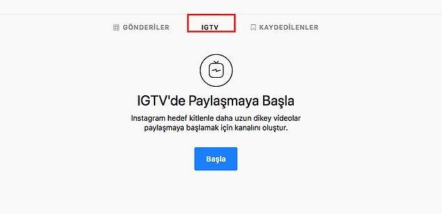 Nasıl kanal oluşturulur ve video yüklenir? Masaüstü cihaz üzerinden profilinize gittiğinizde şu şekilde IGTV sekmesi karşınıza çıkıyor. Hızlıca kanal oluşturabiliyorsunuz.