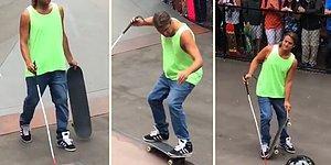Görme Engelli Adamdan Ayakta Alkışlanacak Bir Kaykay Performansı