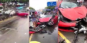 İlk Defa Kullandığı Kiralık Ferrari ile Kaza Yapan Sürücü