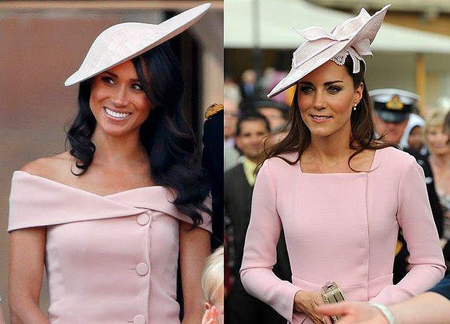 Toz pembe renginde giydikleri elbise ve taktıkları şapka ile yine stil ikizi olmuşlar...