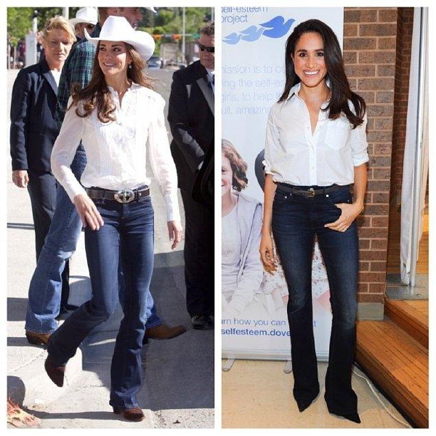 Kovboy şapkası ile Kate stilini hareketlendirse de gömlek, pantolon ve kemer tercihleri ile neredeyse birbirinin aynısı iki kombin!