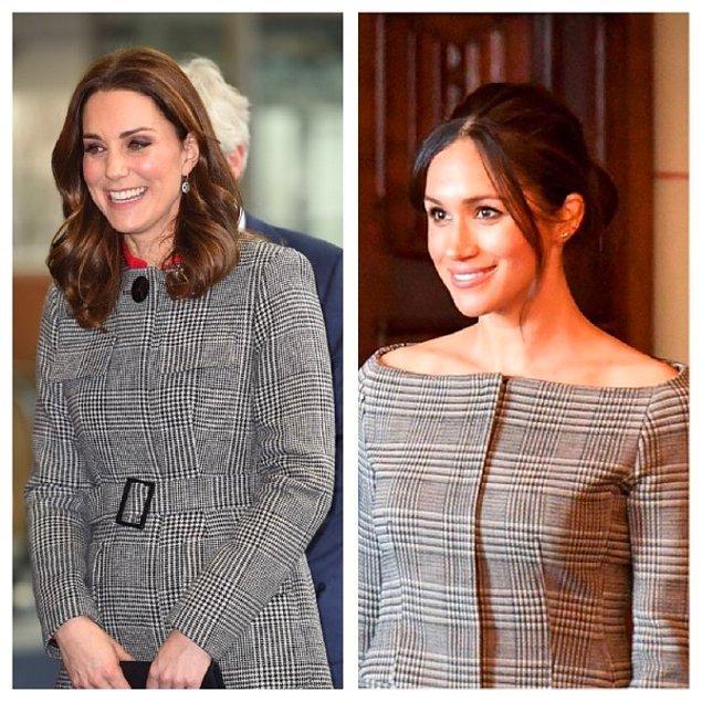 Yine birbiriyle aynı desende kıyafetle karşımızda İngiliz Kraliyet ailesinin iki prensesi. Meghan yine daha cesur bir tercihte bulunmuş.