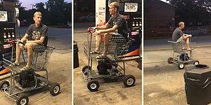 Kendine Alışveriş Sepetinden Motorlu Araç Yapan Adam
