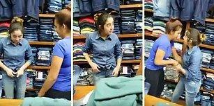 Üst Üste Kot Pantolonları Giyip Çalmak İsterken Yakalanan Kadını Tokat Manyağı Yapan Kadınlar