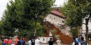 Tahliye Edilmişti! Beyoğlu Sütlüce'de Toprak Kayması Nedeniyle Altı Boşalan 4 Katlı Bina Çöktü