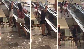 Yürüyen Merdivene Tırmanıp Oyun Oynamak İsterken Ayağını Kıran Genç