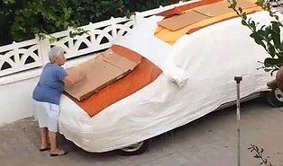 Sokak Hayvanları Aracına Çıkmasın Diye Arabasını Çivili Kartonlarla Kaplayan Kadın
