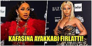 Kafasına Ayakkabı Fırlattı! Nicki Minaj ve Cardi B Moda Haftası Etkinliğinde Birbirine Girdi!