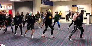 Uçakları Rötar Yapınca Canları Sıkılan Dans Grubundan Havalimanında Muhteşem Gösteri
