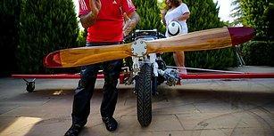 Kanatlarım Var Ruhumda! Antalya'da Bir Vatandaş Uçma Hayaliyle Motosikletine Kanat ve Pervane Taktı
