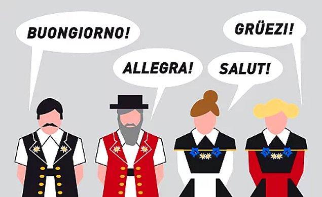 Haliyle ülkede konuşulan diller de çok çeşitli, ülkenin Almanca, Fransızca, İtalyanca ve Romança olmak üzere dört resmi dili var.