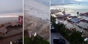 Endonezya'da 7.5 Şiddetindeki Depremin Ardından Oluşan Tsunami'nin Korkutucu Görüntüsü