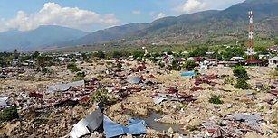 Endonezya'da Deprem ve Tsunaminin Neden Olduğu Yıkımın Havadan Kaydedilen Korkunç Görüntüleri