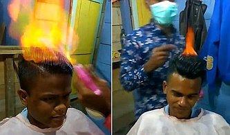 Müşterilerini Ateş Kullanarak Tıraş Eden Hint Kuaför