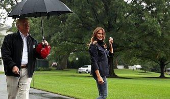Trump, Centilmenlikte Sınıfta Kaldı: ABD Başkanı Yağan Yağmura Rağmen Eşini Şemsiyesiz Bıraktı