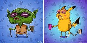 Hepimizin Sevdiği Karakterler Birer Kafein Bağımlısına Dönüşselerdi Nasıl Görünürlerdi?