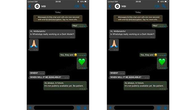 Whatsapp karanlık(gece) modu ile ilgili örnek bir görüntü ise şu şekilde;