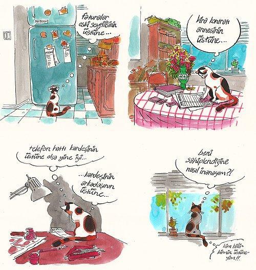Evde Cat Başına Kedi Arifenin Ev Hayatına Tebessüm Ederek Tanık Olacağınız 13 Karikatür