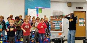 Okulun Güvenlik Görevlisinin Doğum Gününü Kutlamak İçin İşaret Dili Öğrenen Ufaklıklar