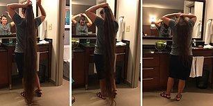 Efsane Uzun Saçlara Sahip Kadının 2 Dakikada Yerlere Uzanan Saçlarını Nasıl Topladığın Görüntüleri