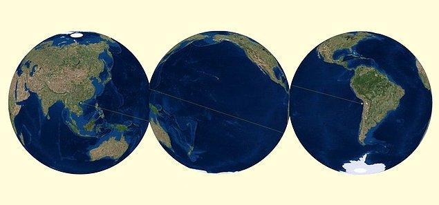1. Pasifik Okyanusu o kadar büyüktür ki kendi antipotuna sahiptir.