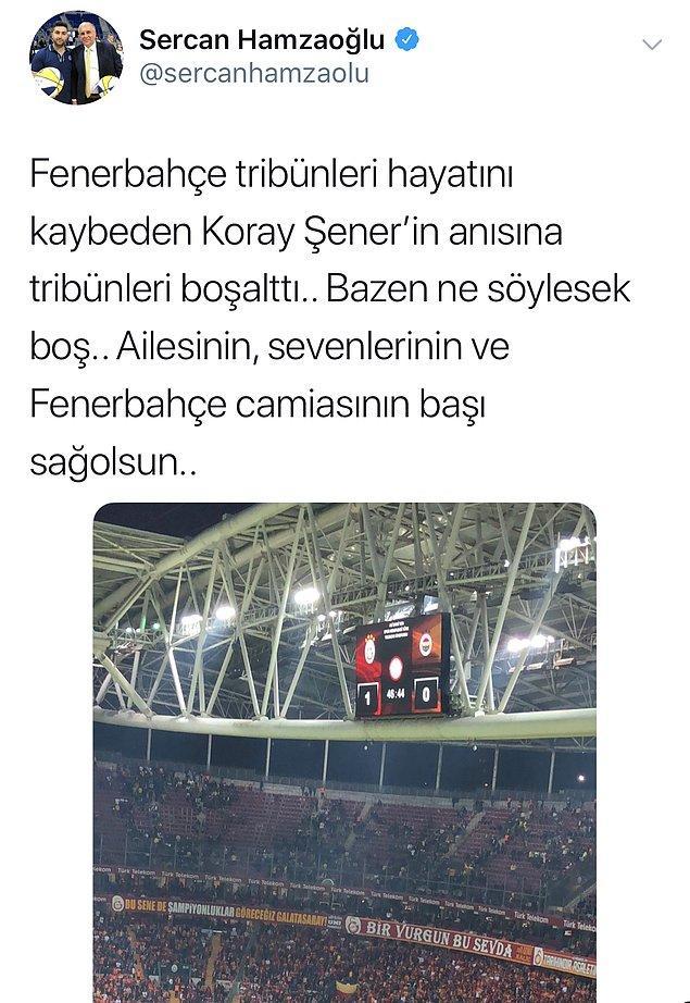 Olayın öğrenilmesinin ardından, Fenerbahçe taraftarı tribünleri boşalttı.