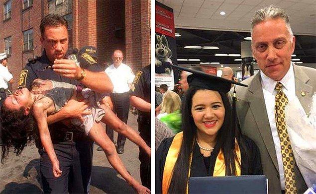 18. 1998 yılında sol tarafta gördüğünüz küçük kızı yanan bir binadan çıkartan çalışan, 18 yıl sonra mezuniyetine katıldı.