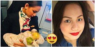 Kabin Memuru Olduğu Uçakta Hiç Tanımamasına Rağmen Acıkan Bir Bebeği Emziren Koca Yürekli Kadın