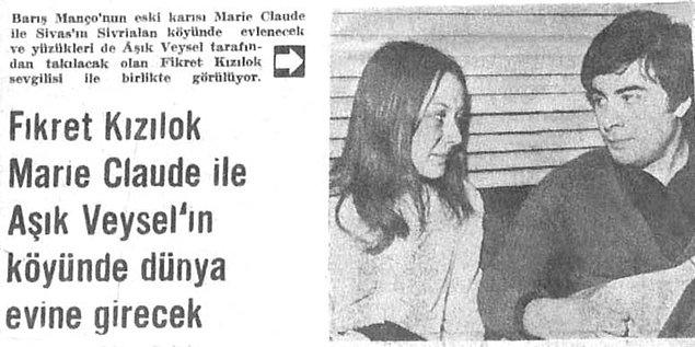 Fakat aşk bu nereden çıkacağı belli olmaz...Daha sonra Fikret Kızılok ile Barış Manço'nun eşi Marie Claude birbirlerine aşık olmuşlardı.