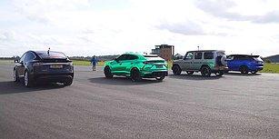 Efsanelerin Yarışı: Tesla, Lamborghini, Mercedes ve Range Rover  Karşı Karşıya!