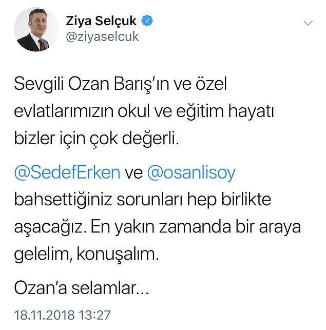 Erken ve Sanlısoy'un paylaşımlarının ardından Twitter'ın gündemine oturan 'otizmli çocukların eğitim sistemindeki sorunları'na ilişkin, Milli Eğitim Bakanı Selçuk'tan açıklama geldi: 'Bahsettiğiniz sorunları hep birlikte aşacağız'