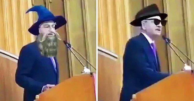 7. Kemal Kılıçdaroğlu'nun grup toplantısı yaptığı sırada Gandalf'a dönüşmesi