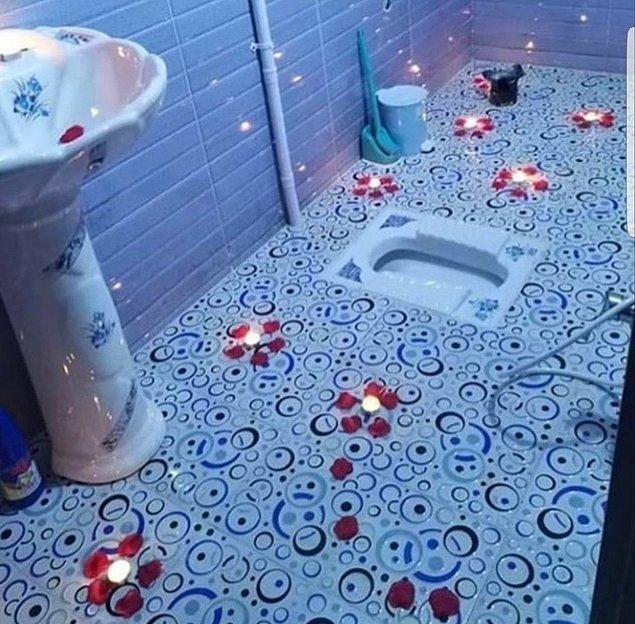 5. Yeni evlisin ve eşin sana sürpriz olarak böyle bir tuvalet hazırlamış. Ne yaparsın?