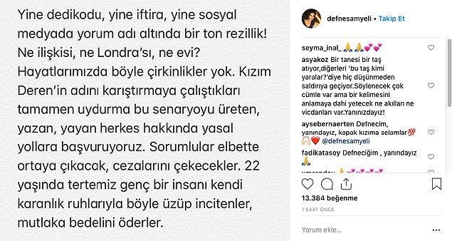 Bu açıklamanın ardından ise Defne Samyeli de Instagram hesabı üzerinden bir açıklama yaptı ve çok sert ifadeler kullandı.