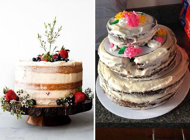 """25. """"Solda sipariş ettiğim pasta, sağ tarafta ise bana gelen. Bu şey için 135 dolar ödedim."""""""