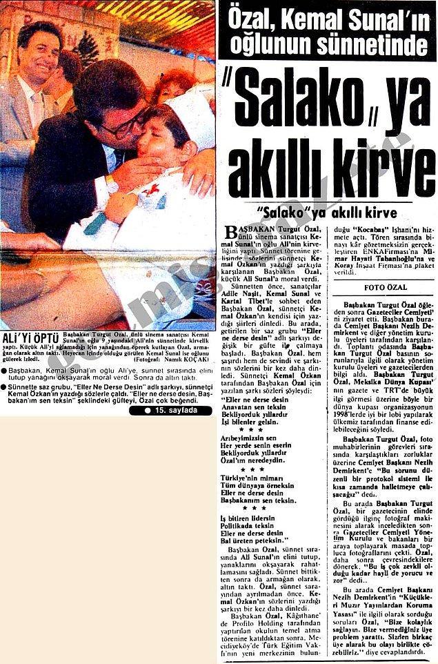 2. Ali Sunal'ın kirvesi, dönemin başbakanı Özal. Buradaki ilginç detay ise sünnetçi Kemal Özkan'ın, araya Özal'ı öven şarkı sıkıştırması.