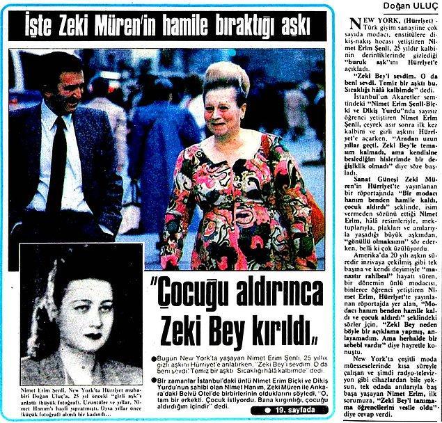 8. Modacı Nimet Erim Şenli'nin açıklamasına göre kendisinin Zeki Müren ile bir ilişkisi olmuş, hatta bu ilişkiden hamile kalmış.