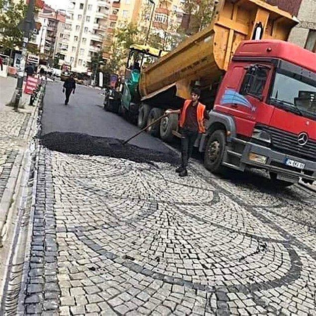 """5. Bergama taşı üzerine asfalt döken Kartal Belediyesi'nin """"'Kamuoyu Yoklaması Yapıldı"""" açıklaması"""