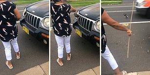 Aracın Önüne Sıkışan Kuşu Kurtarmaya Çalışırken Hayatının Şokunu Yaşayan Kadın!