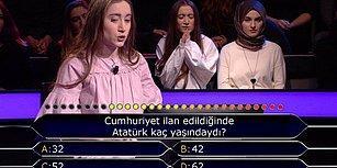 'Cumhuriyet İlan Edildiğinde Atatürk Kaç Yaşındaydı?' Sorusu İçin 2 Joker Kullanan Kim Milyoner Olmak İster Yarışmacısı