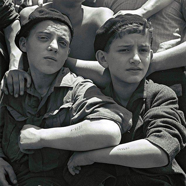 Auschwitz Nazi Toplama Kampı'ndan kurtarılan gençler 15 Temmuz 1945'te mülteci gemisinde kampta yapılan dövmelerini gösteriyorlar.