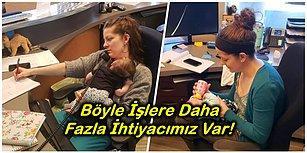 Annelik İş Güç Dinlemez: Her Gün İşe Giderken Yanında Üç Aylık Bebeğini de Götüren Fedakar Kadın